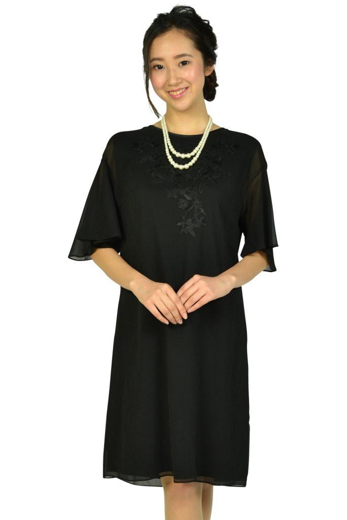 アマカ (AMACA) フレア袖花柄刺繍ブラックドレス