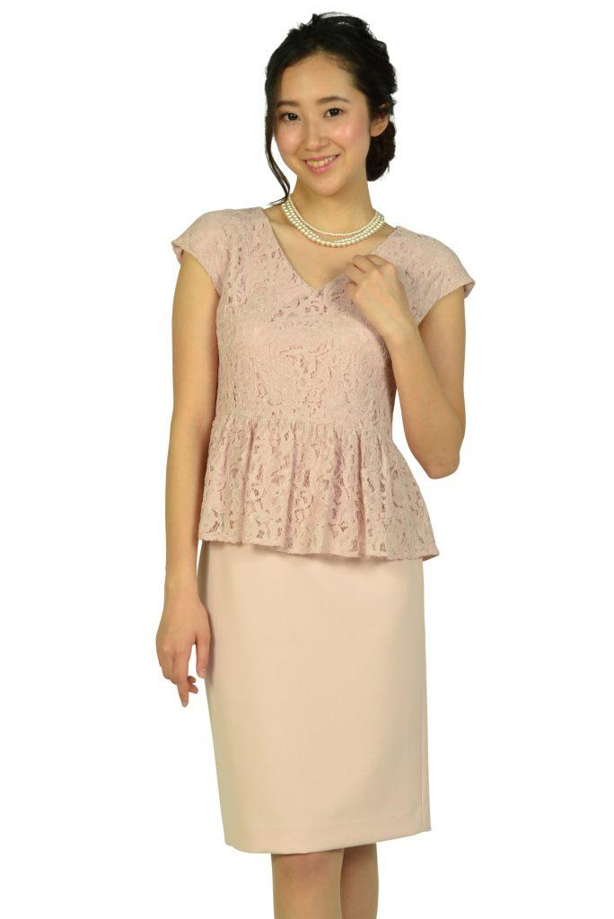 シップス (SHIPS) レーストップスIラインピンクドレス