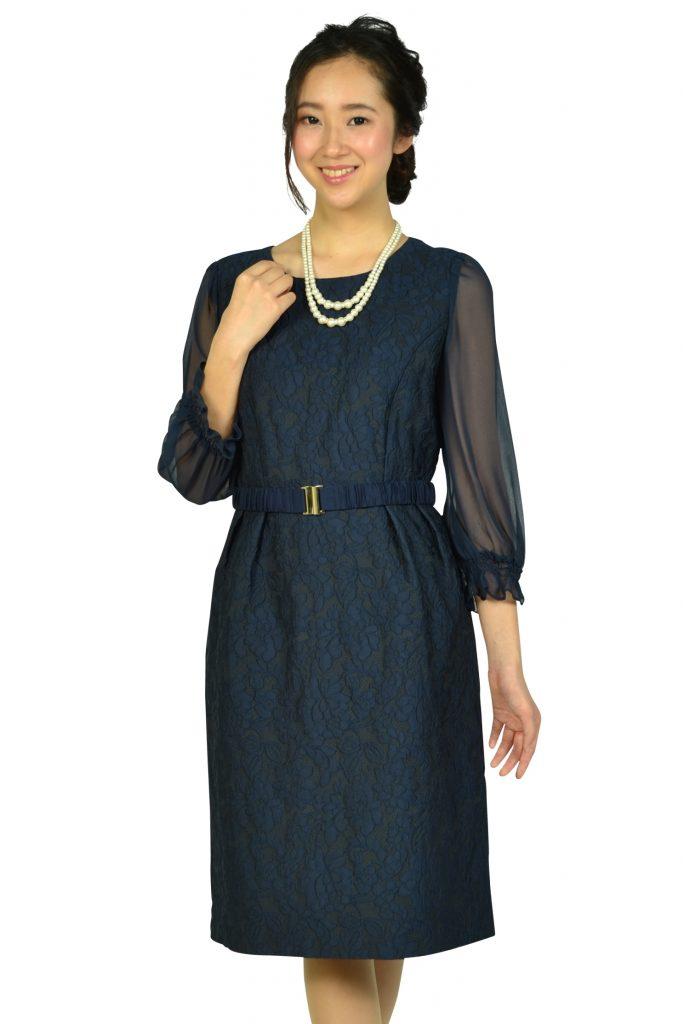 クミキョクプリエ (組曲プリエ) シフォン袖ネイビーレースドレス