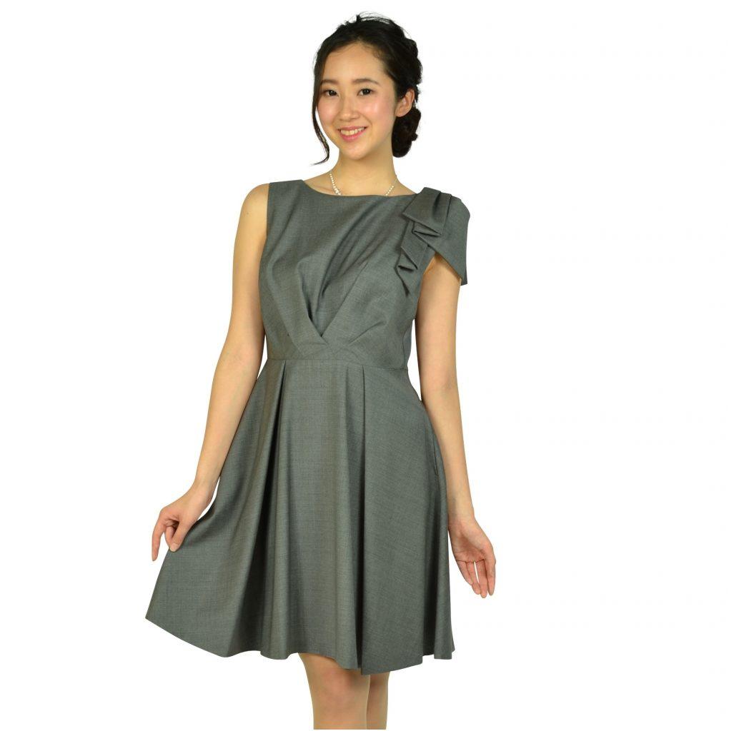ランバンオンブルー ワンポイントグレータックドレスのS~Mサイズ