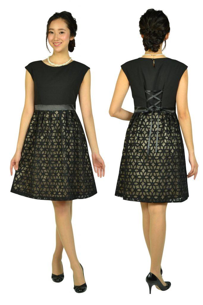 エニィスィス(anySiS) オーガンジーフラワーブラックドレス