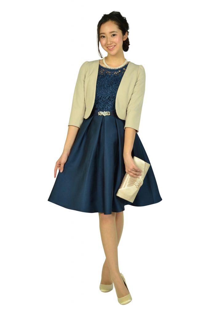 クチュールブローチ (Couture Brooch) フィットアンドフレアレースネイビードレス