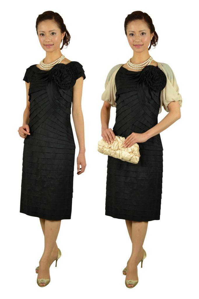 タダシ・ショージ(Tadashi Shoji) 上質ブラックティアードドレス