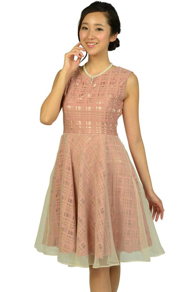 アナトリエ (anatelier) スモーキーピンクチェックドレス