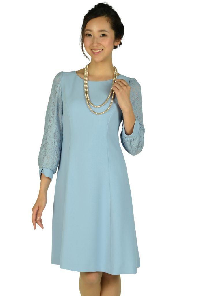 ストロベリーフィールズ (STRAWBERRY-FIELDS) サックスブルーレース袖ドレス