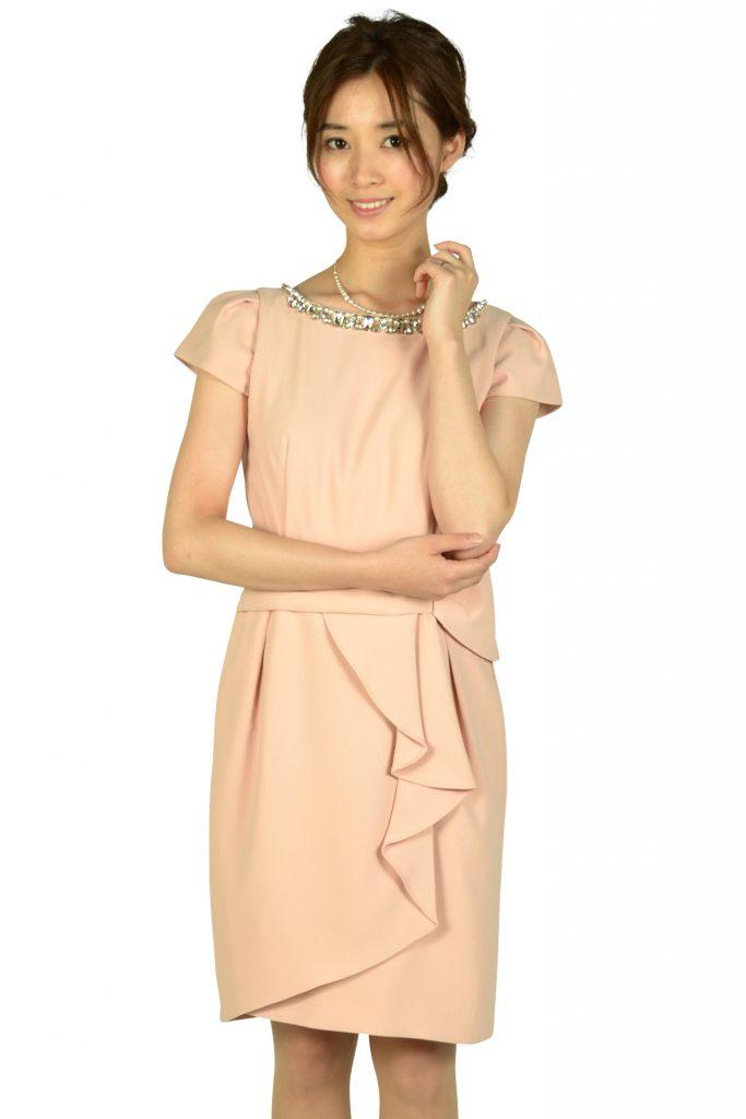 アプワイザー・リッシェ(Apuweiser-riche) ウエストタック袖付きピンクドレス