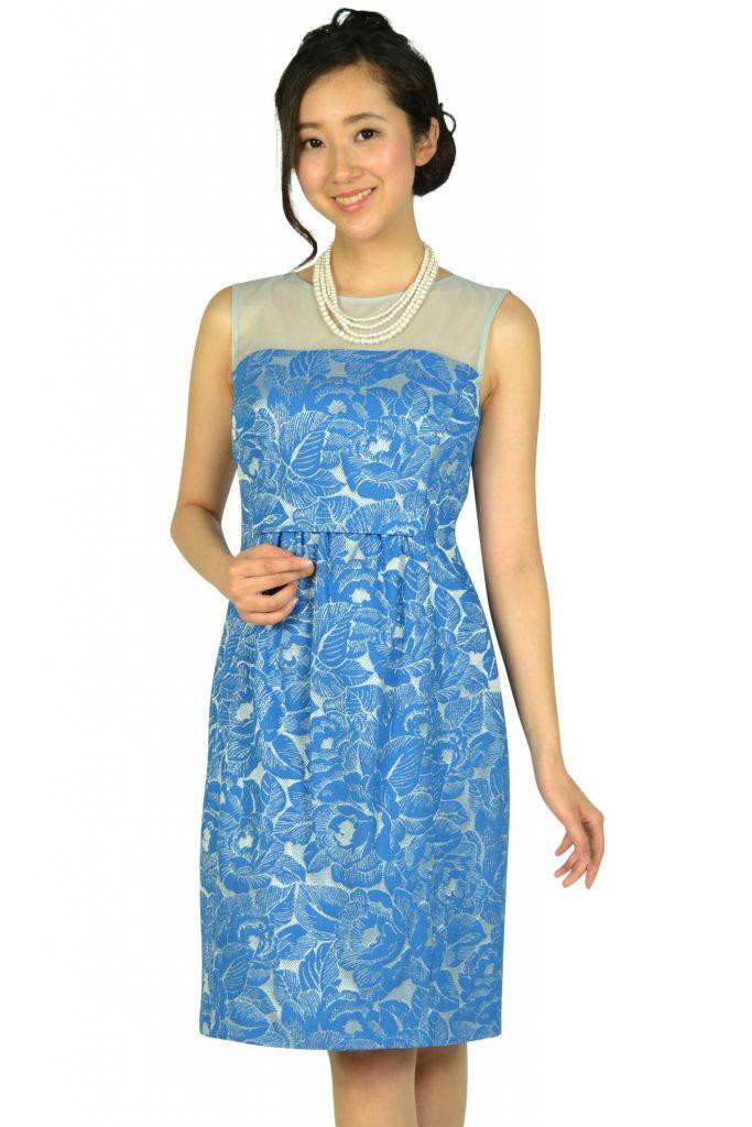 プリフェレンズパーティーズ (PREFERENCE PARTY'S) フラワー刺繍ブルードレス