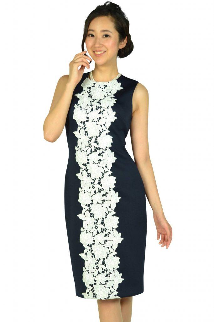 カルバンクライン(Calvin Klein) センターレースネイビードレス