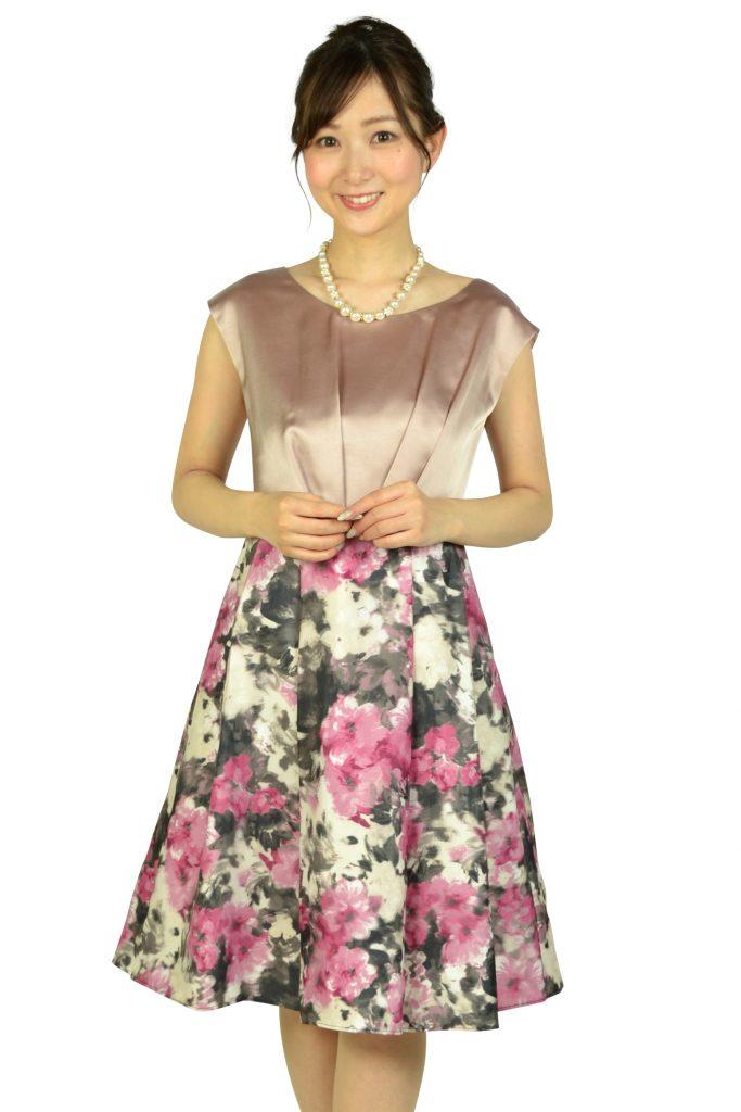 Agreable 編上げフラワープリントピンクドレス