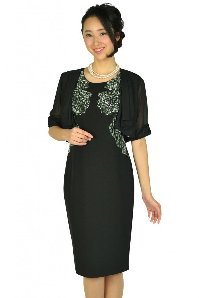 カルバンクライン (Calvin Klein) エレガントフラワースタッズブラックドレスセット