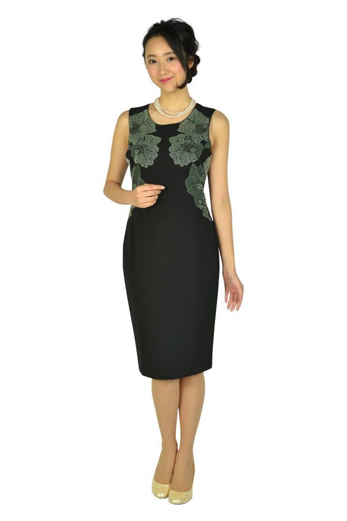 カルバンクライン(Calvin Klein) エレガントフラワースタッズブラックドレスセット
