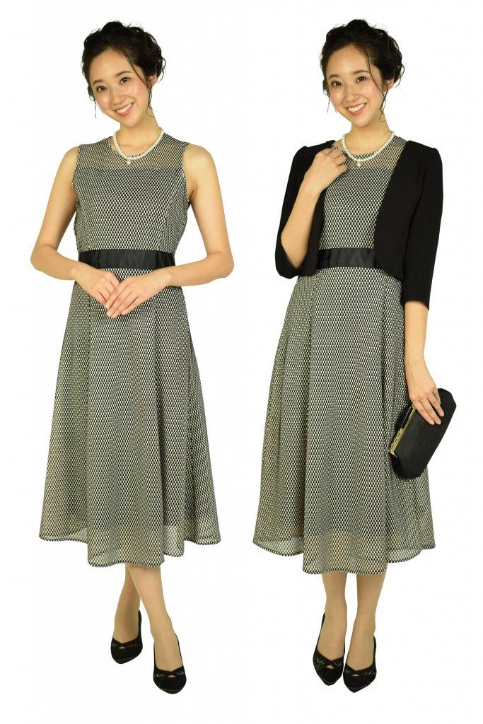 ketty 編み込みベージュ×ブラックドレス