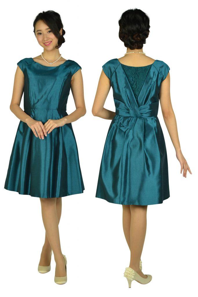 レッセパッセ (LAISSE PASSE) 光沢シャンタングリーンドレス