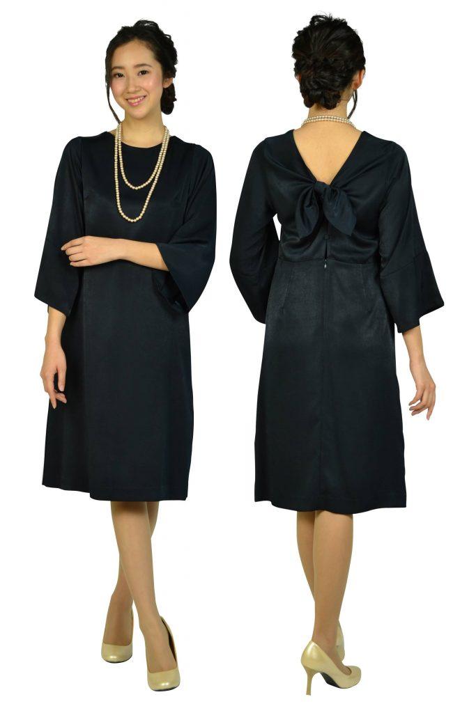ビューティアンドユース ユナイテッドアローズ (BEAUTY&YOUTH UNITED ARROWS) バックリボンシンプルネイビードレス