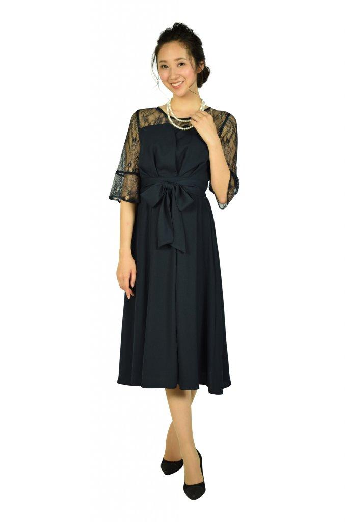 ビヲミナ (VIWOMINA) 上品6分袖レースミディ丈ネイビードレス