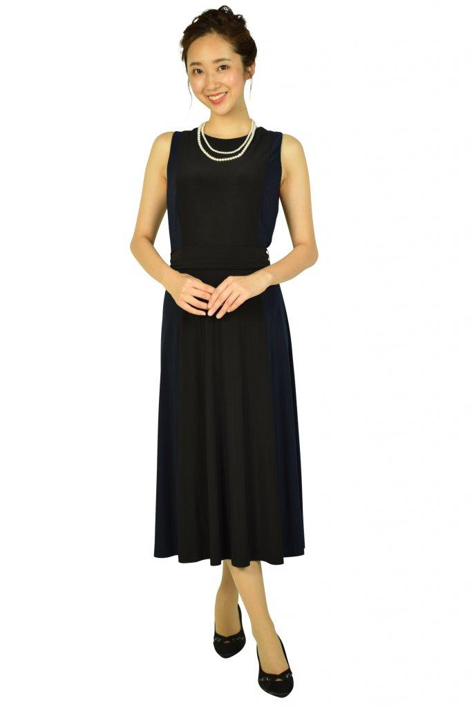 ローレンラルフローレン (LAUREN RALPH LAUREN) 切替デザインブラック×ネイビードレス