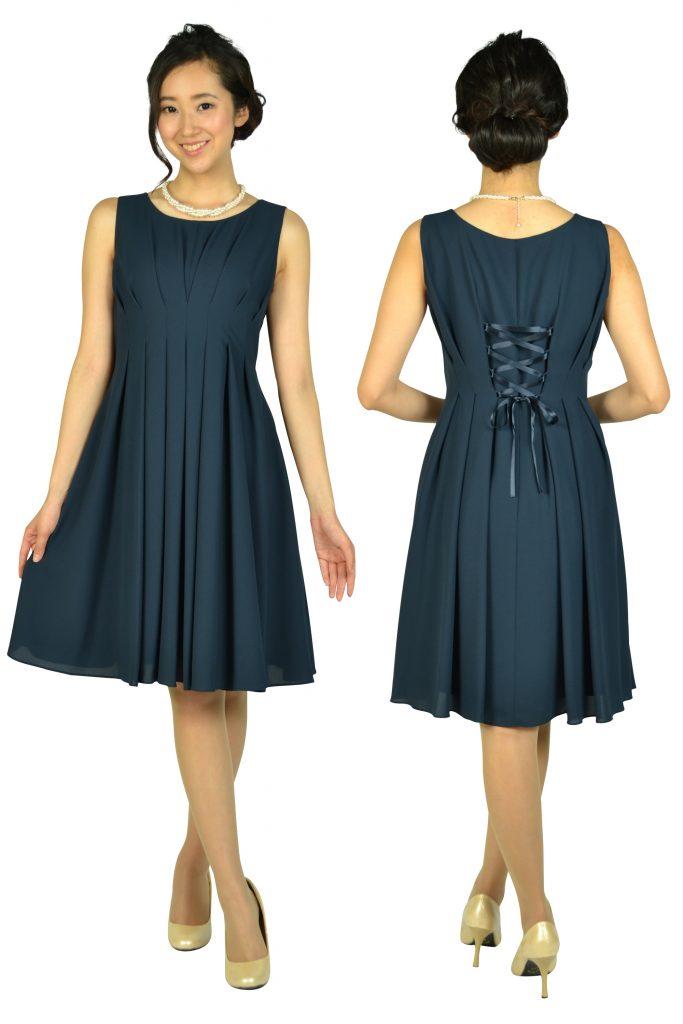 エニィスィス (anySiS) 編み上げタックネイビードレス