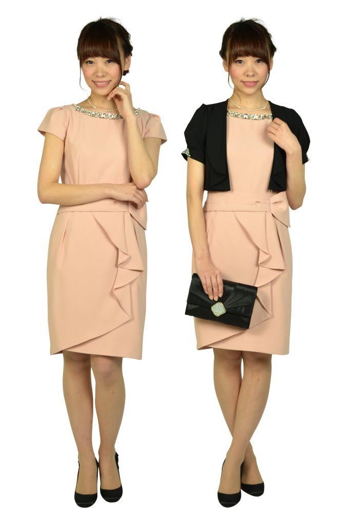 アプワイザー・リッシェ (Apuweiser-riche) ウエストタック袖付きピンクドレス