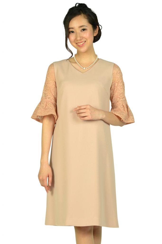 ユナイテッドアローズ (UNITED ARROWS) インナーレース袖付きピンクベージュドレス