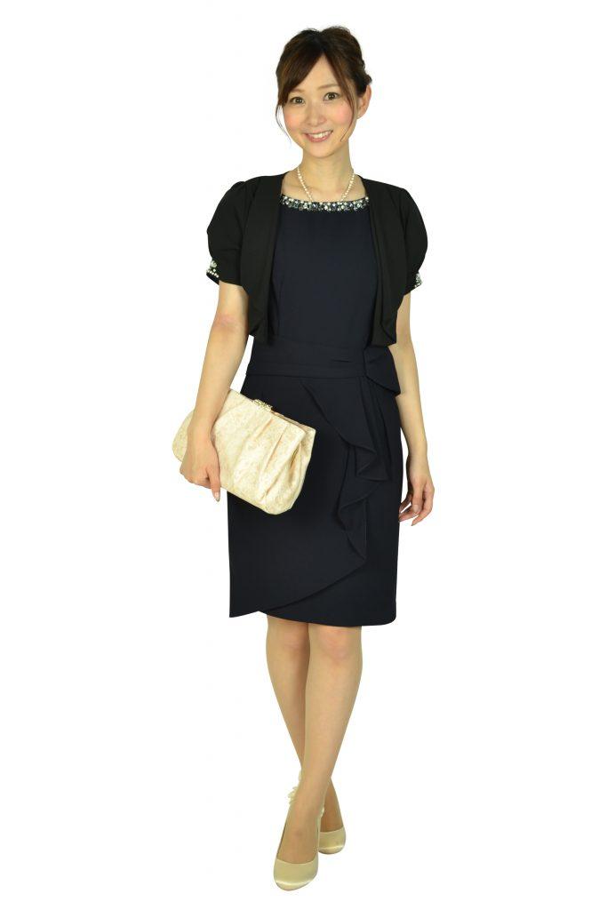 アプワイザー・リッシェ (Apuweiser-riche) ウエストタック袖付きネイビードレス