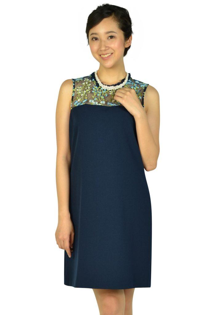 カールラガーフェルド パリ (Karl Lagerfeld Paris) トップスフラワー刺繍ネイビードレス