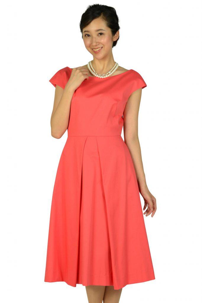ミリー (Milly) バックワイドデザインオレンジピンクドレス