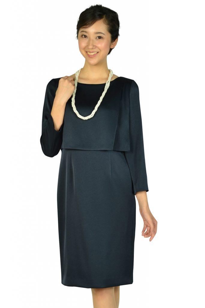 9d6cccca2139f ユナイテッドアローズ (UNITED ARROWS) 袖あり光沢シンプルネイビードレス