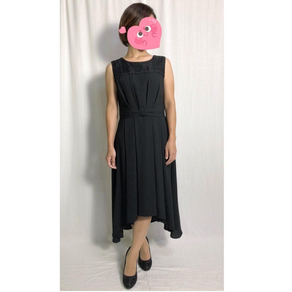 エルモソ イレギュラーヘムブラックドレス(着丈98(後)110 cm)