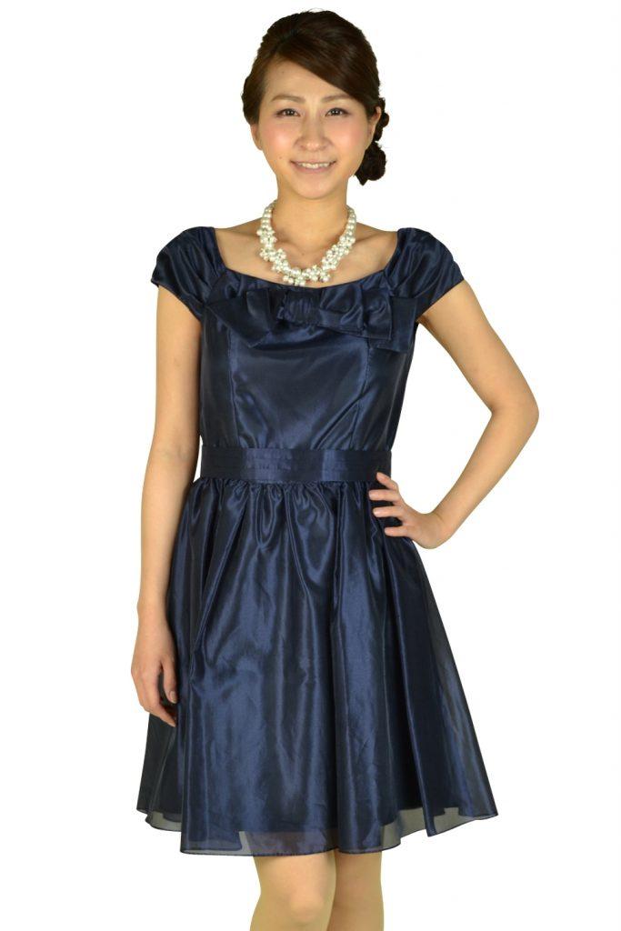 レッセパッセ (LAISSE PASSE) リボン付きオフショルダーネイビードレス