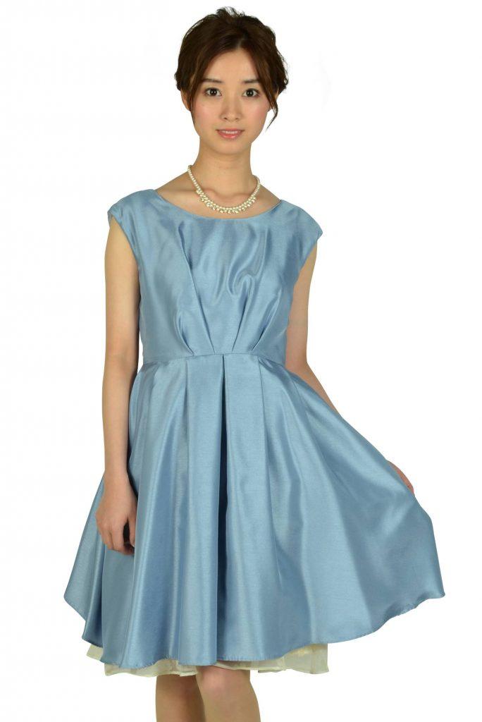 アグレアーブル (Agreable) タック&フラワーオーガンジーサックスドレス