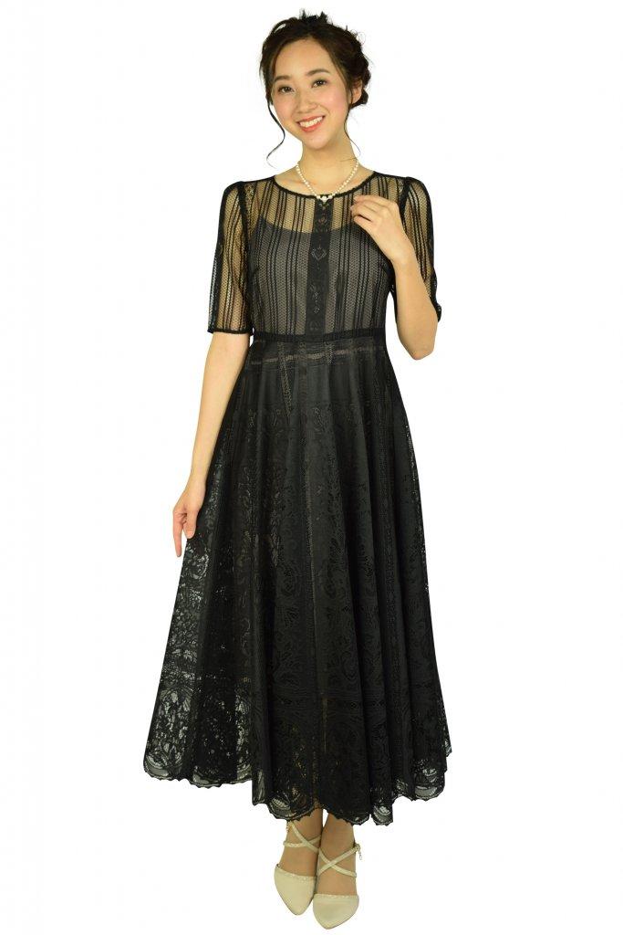 FRAY I.D パネルレースブラックドレス