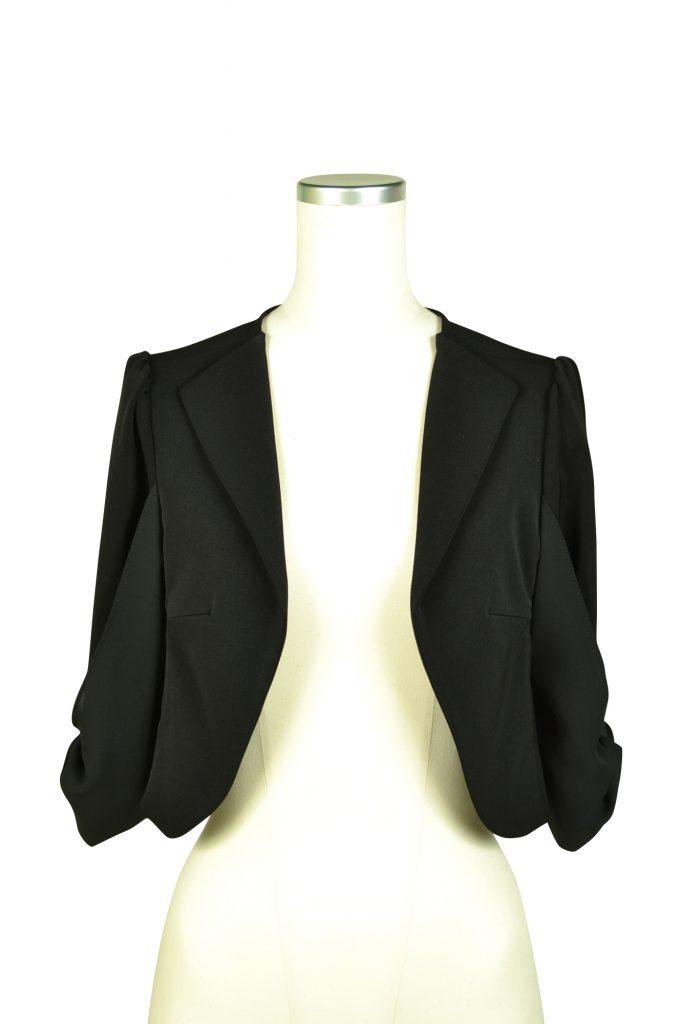 ミベル ミューズ (mebelle muse) 袖リボン5分袖ブラックジャケット