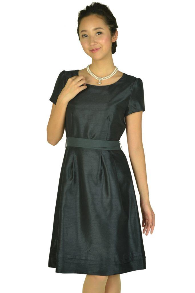 イノウェーブ(innowave) 半袖シンプルシャンタンネイビードレス
