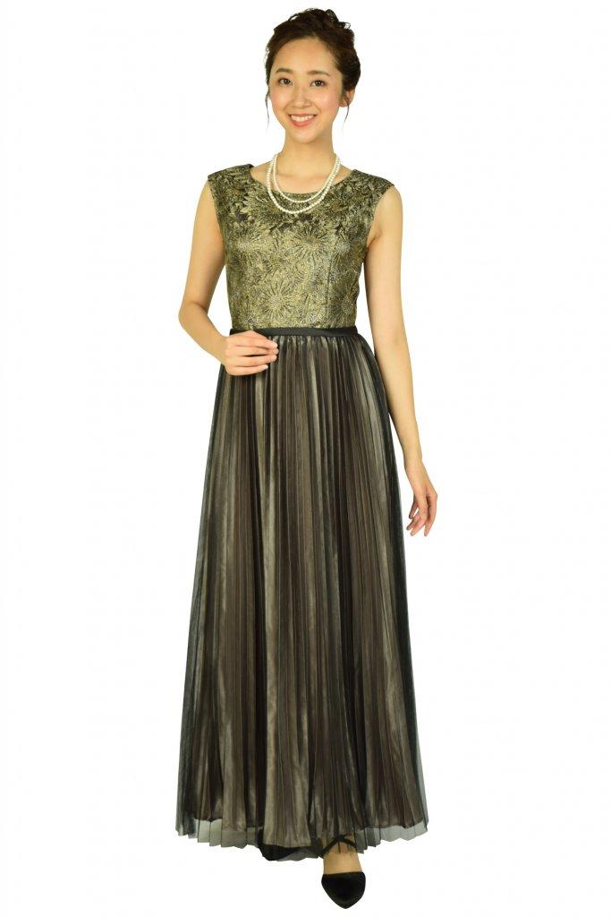 ルメイユチュール (Lemeillture) プリーツブラック×ゴールドロングドレス