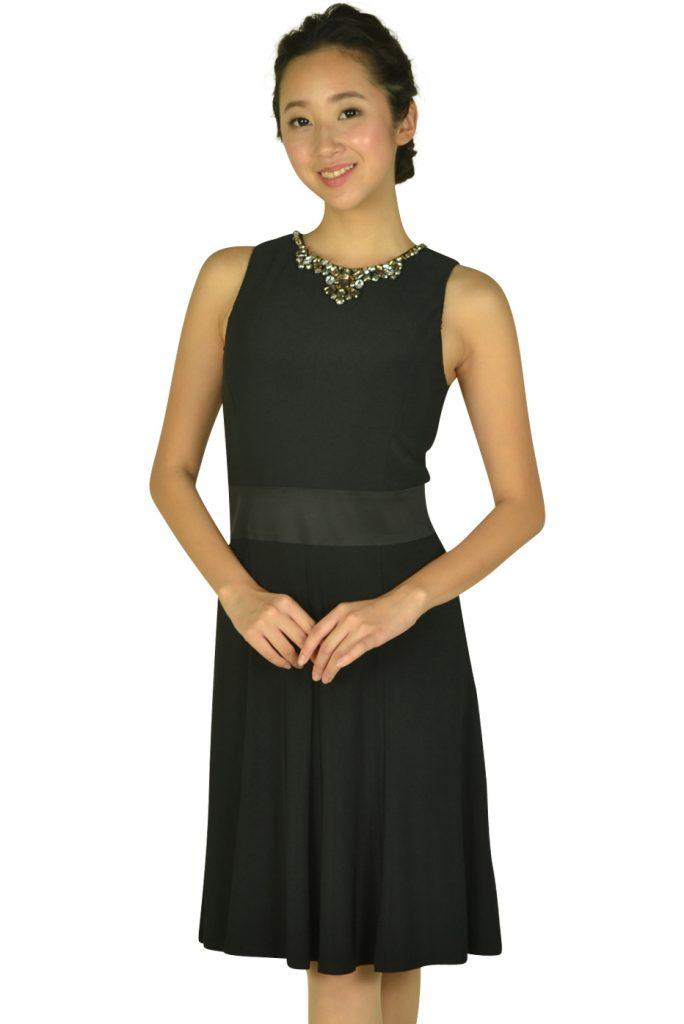 ローレンラルフローレン (LAUREN RALPH LAUREN) ビジュークリスタルネックブラックドレス