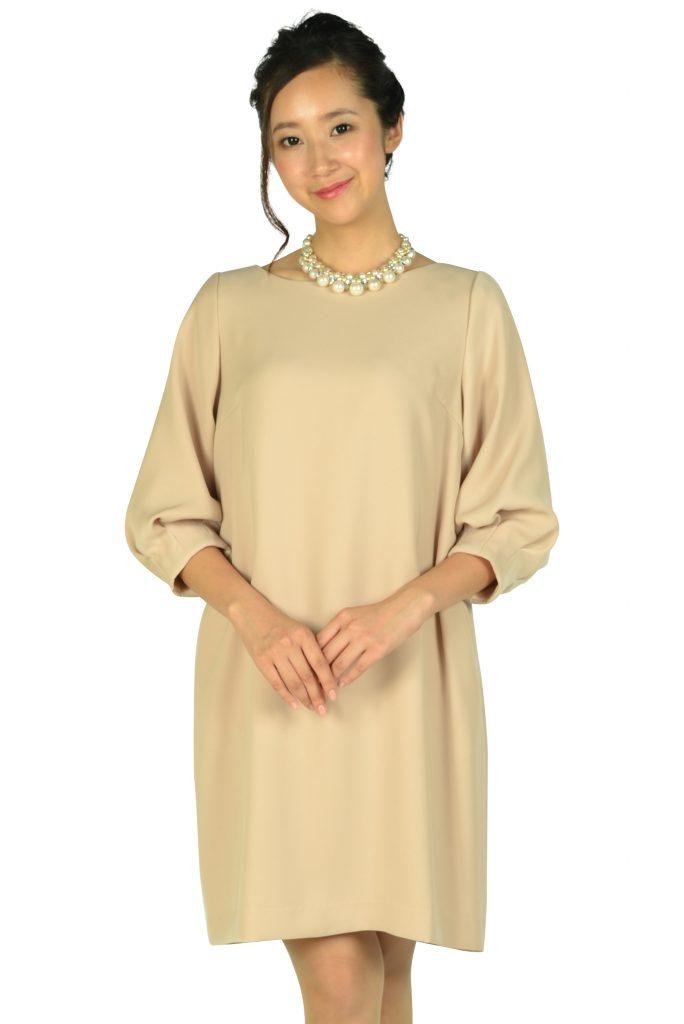 アナトリエ(anatelier) Iライン袖付きピンクベージュドレス