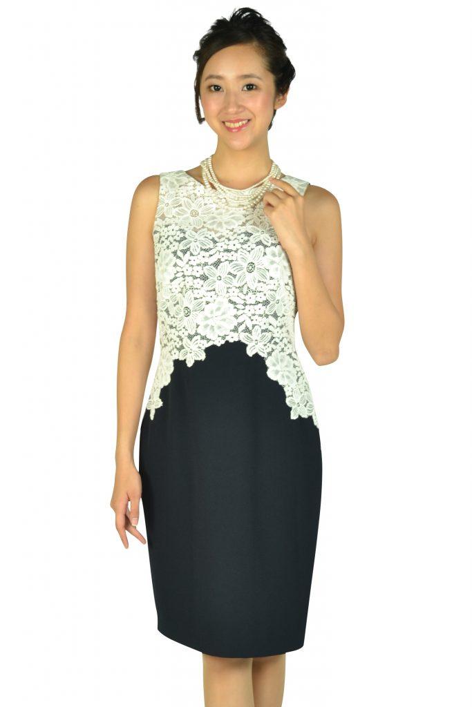ローレンラルフローレン (LAUREN RALPH LAUREN) Iラインレースホワイト×ネイビードレス