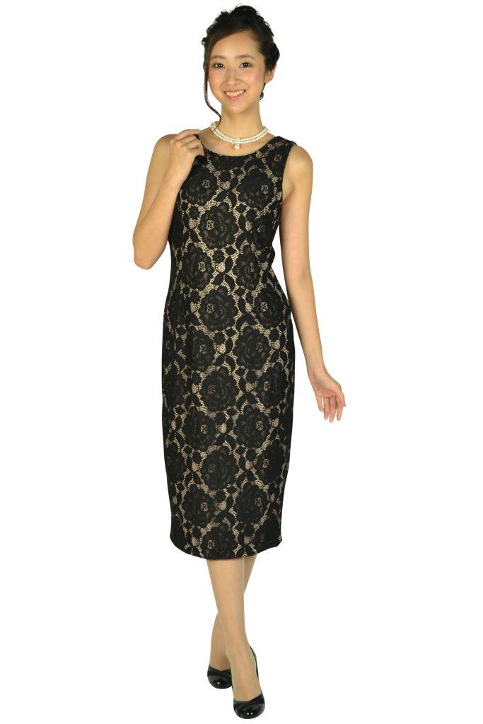 イヴァンカ トランプ (IVANKA TRUMP) ブラック×ベージュミディタイトドレス