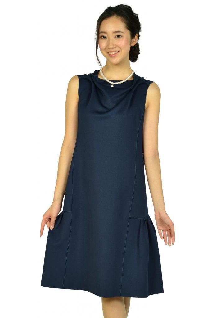 エンポリオ アルマーニ (EMPORIO ARMANI) ドレープ&タックゆったりネイビードレス