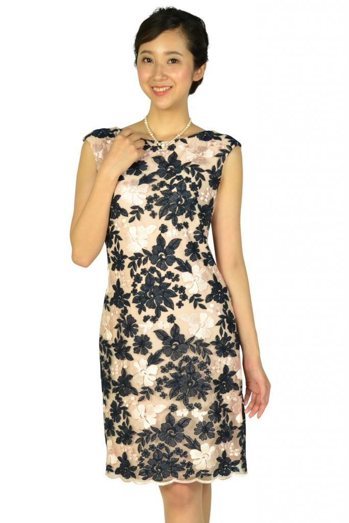 ラルフローレン (Ralph Lauren) フラワー刺繍ネイビー×ピンクドレス
