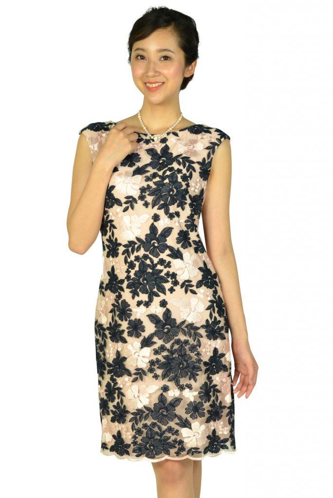 ラルフローレン( Ralph Lauren ) フラワー刺繍ネイビー×ピンクドレス