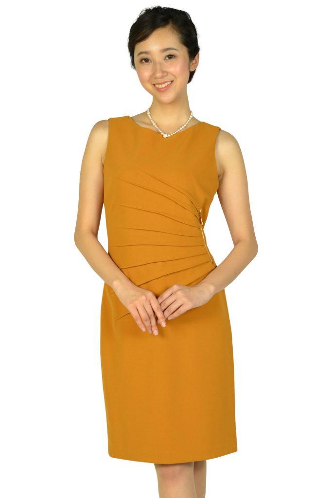 イヴァンカ トランプ (IVANKA TRUMP) ウエストタック&ファスナーマスタードドレス