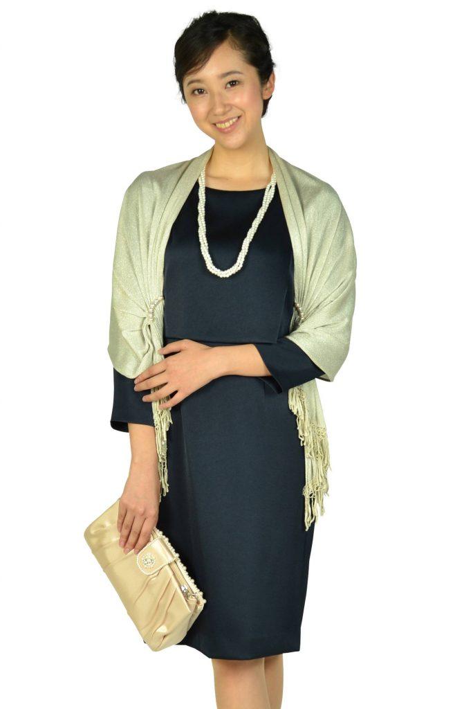 ユナイテッドアローズ(UNITED ARROWS) 袖あり光沢シンプルネイビードレス