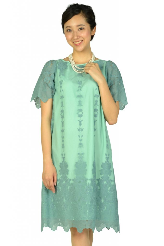 アナトリエ( anatelier ) 袖ありフラワー刺繍ミントグリーンドレス