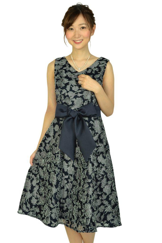 ドーリードール (Dorry Doll) チュール刺繍レースネイビードレス