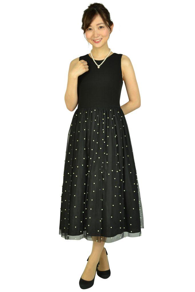 カルバンクライン (Calvin Klein) パールチュールブラックドレス