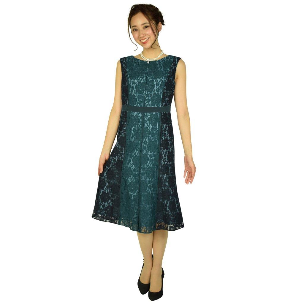 GRACE CONTINENTAL 配色レースフレアグリーンドレス