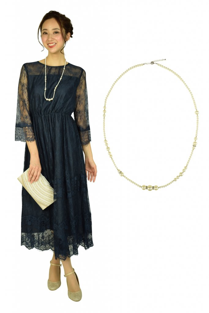 Hermoso luxe アシンメトリーロングパールネックレス