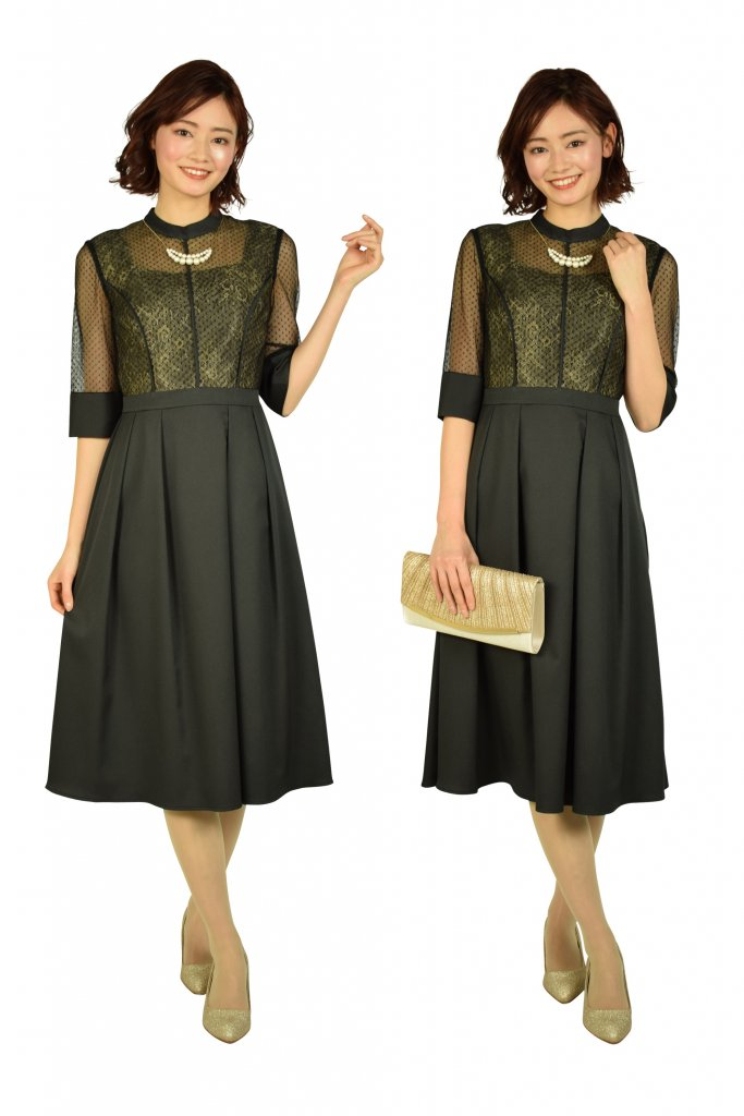 mebelle muse ドット&フラワーレースブラックドレス