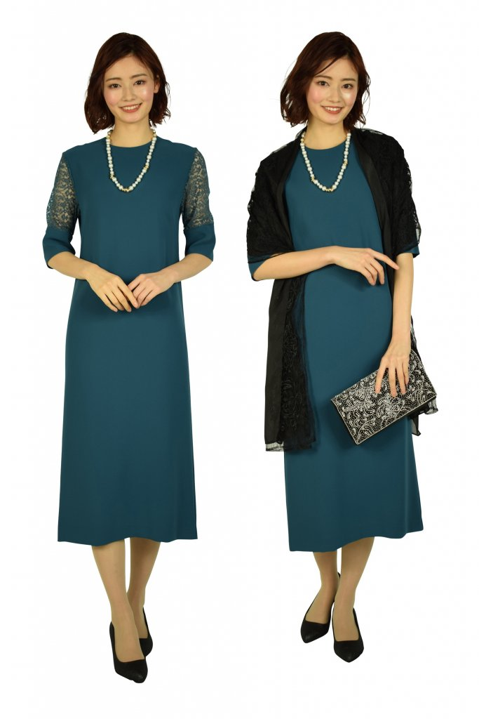 BEAUTY&YOUTH UNITED ARROWS リーフレーススリーブブルーグリーンドレス